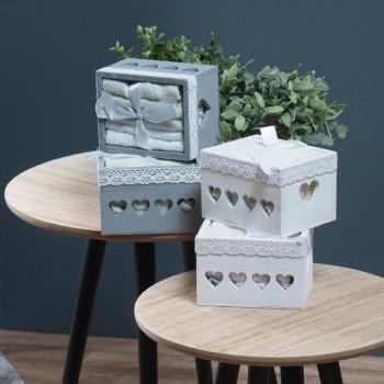 Ξύλινο Κουτί Μπάνιου BOX 1002 (Σετ λαβέτες 5 τεμ.) Γκρι