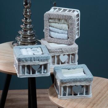 Ξύλινο Κουτί Μπάνιου BOX 1006 (Σετ λαβέτες 4 τεμ.) Γκρι