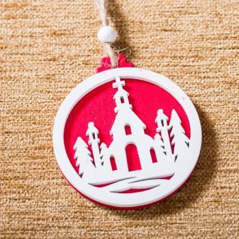 Ξύλινα Στολίδια Christmas Round (6 τεμ.)
